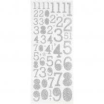 Focus Focus Glitter stickers Silver Numbers
