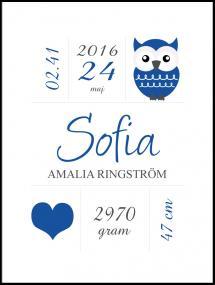 Personlig poster Owl Birth Poster Navy