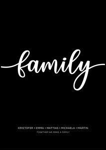 Personlig poster Family - Black