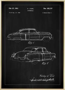 Lagervaror egen produktion Patent drawing - Cadillac I - Black Poster