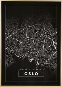 Bildverkstad Map - Oslo - Black Poster