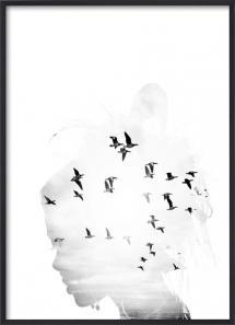Lagervaror egen produktion Bird Head B&W Poster