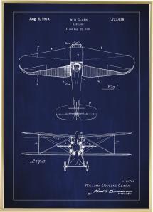 Bildverkstad Patent drawing - Biplane - Blue Poster