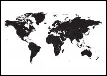 Bildverkstad World map - Black Poster