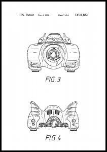 Bildverkstad Patent drawing - Batman - Batmobile 1990 II Poster