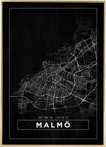 Bildverkstad Map - Malmö - Black Poster