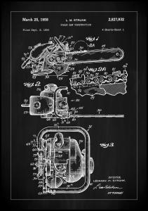 Bildverkstad Patent Print - Chain Saw - Black Poster