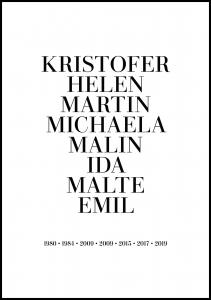 Personlig poster Family picture - 8 Names & Birth years - White