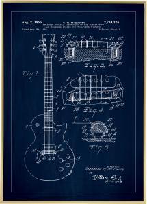 Bildverkstad Patent drawing - Electric guitar I - Blue Poster
