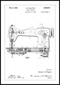 Lagervaror egen produktion Patent drawing - Sewing machine I Poster