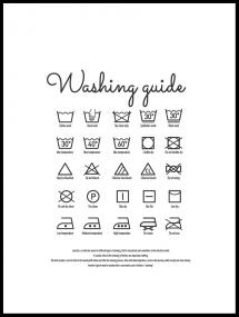 Bildverkstad Washing guide - White Poster