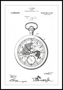 Bildverkstad Patent drawing - Pocketwatch - White Poster