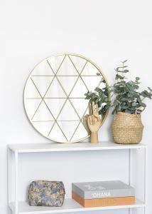 KAILA KAILA Round Mirror Triangles - Gold 55 cm Ø