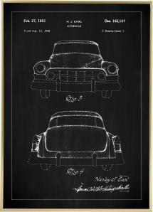 Bildverkstad Patent drawing - Cadillac II - Black Poster