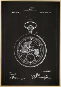 Bildverkstad Patent drawing - Pocketwatch - Black Poster