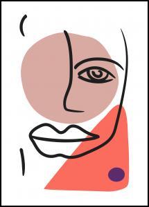 Bildverkstad Abstract Face - Red II Poster