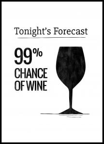 Lagervaror egen produktion Tonights Forecast 99% Chance of Wine Poster