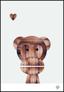 Paperago Wood monkey Poster