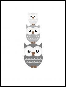 Lagervaror egen produktion Owl Triss - Misty grey Poster