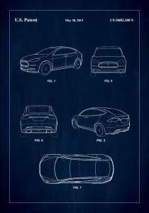 Bildverkstad Patent Print - Tesla - Blue Poster