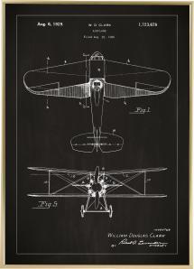 Lagervaror egen produktion Patent drawing - Biplane - Black Poster