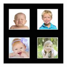 Egen tillverkning - Passepartouter Mount Black 10x10 cm - Collage 4 Pictures (3x3 cm)
