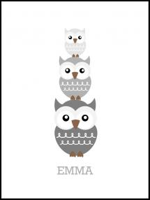 Personlig poster Owls Birth Poster Grey