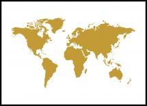 Bildverkstad World map Gold Poster