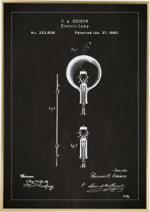 Bildverkstad Patent drawing - Lightbulb B - Black Poster