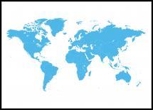 Bildverkstad World map Blue Poster