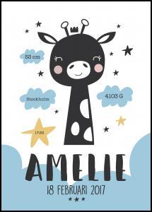 Personlig poster Baby giraffe - Blue