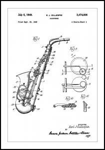 Bildverkstad Patent Print - Saxophone - White Poster